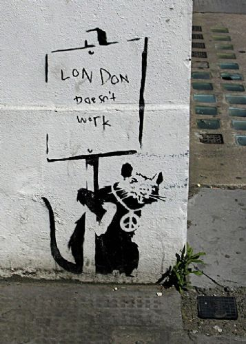BANKSY - London doesn't work - RAT canvas print - self adhesive poster - photo print